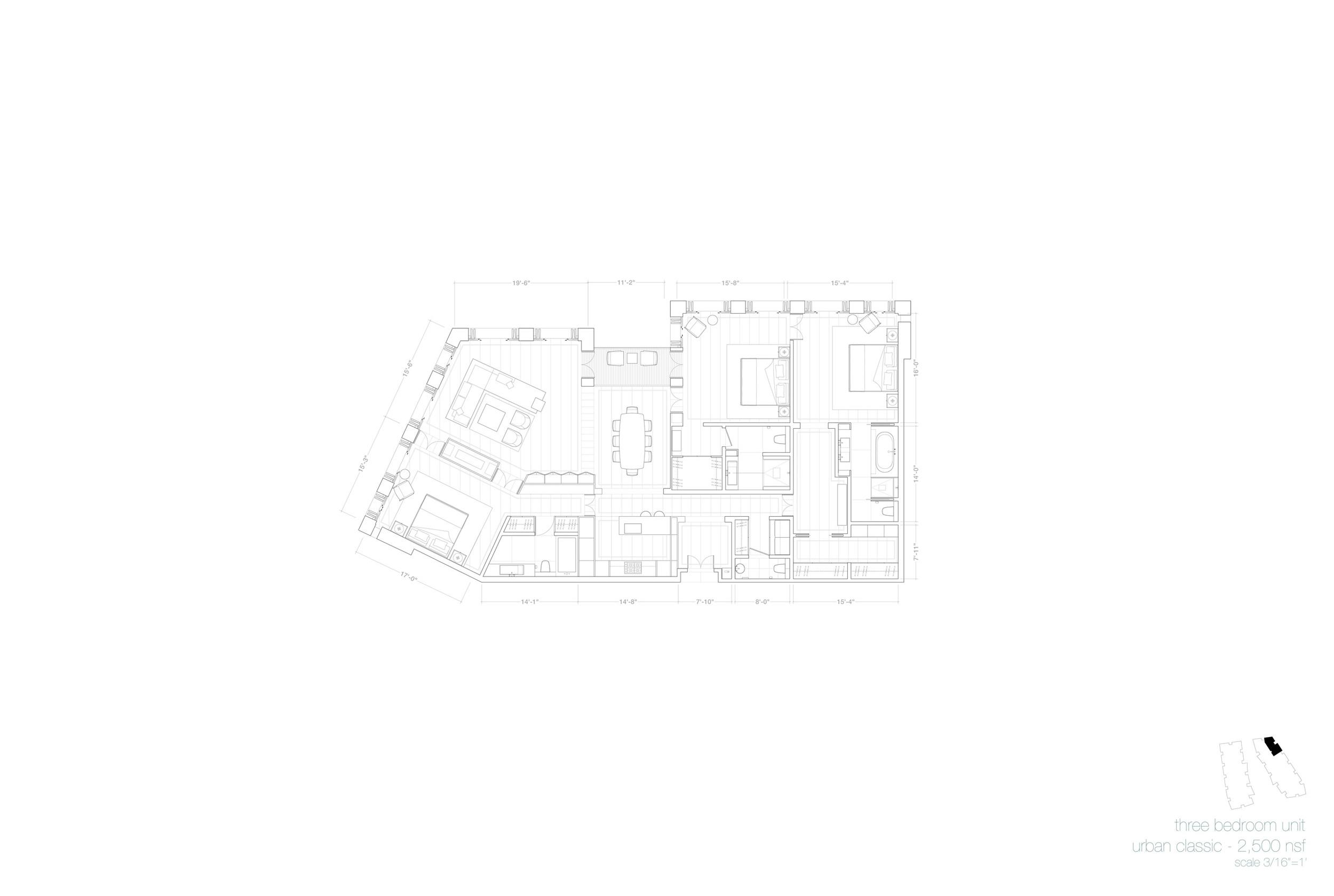 Plan, 3-Bedroom Unit