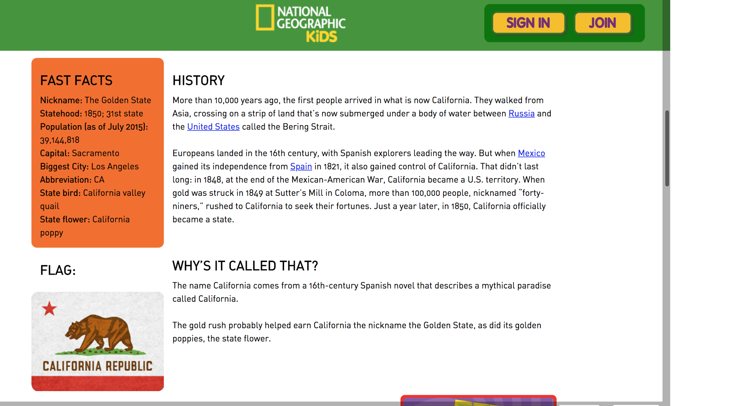 Many sites, like  NatGeo Kids , had good information but were not focused on adults.