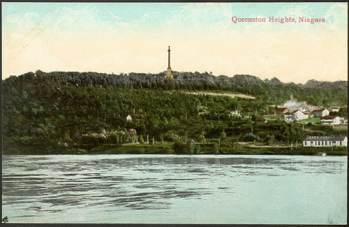 The view of queenston and the heights from the American side. The tall column is brock's monument -- not there in jake and eli's day!