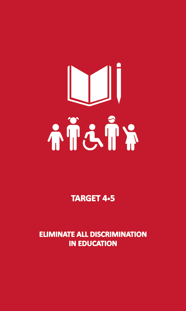 By 2030, eliminate gender disparities in education and ensure equal access to all levels of education and vocational training for the vulnerable, including persons with disabilities, indigenous peoples and children in vulnerable situations.