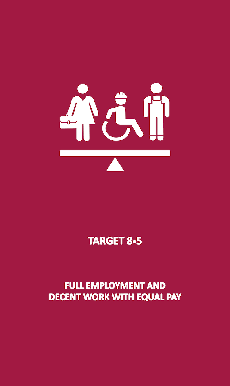 By 2030, achieve full and productive employment and decent work for all women and men, including for young people and persons with disabilities, and equal pay for work of equal value.