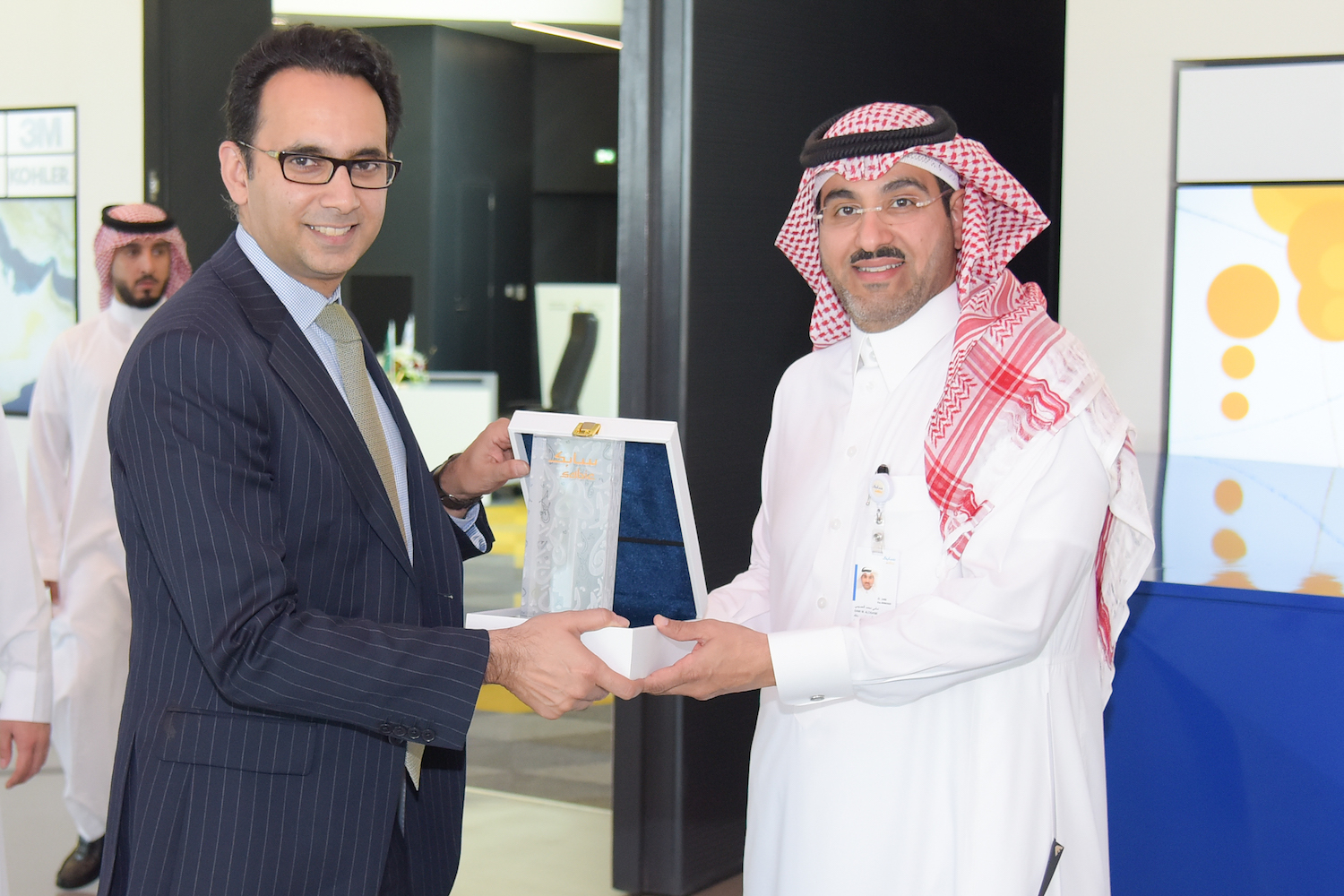 JA Worldwide CEO, Asheesh Advani, (left) and Khaled Habardy, SABIC General Manager for Public Affairs and Government Relations