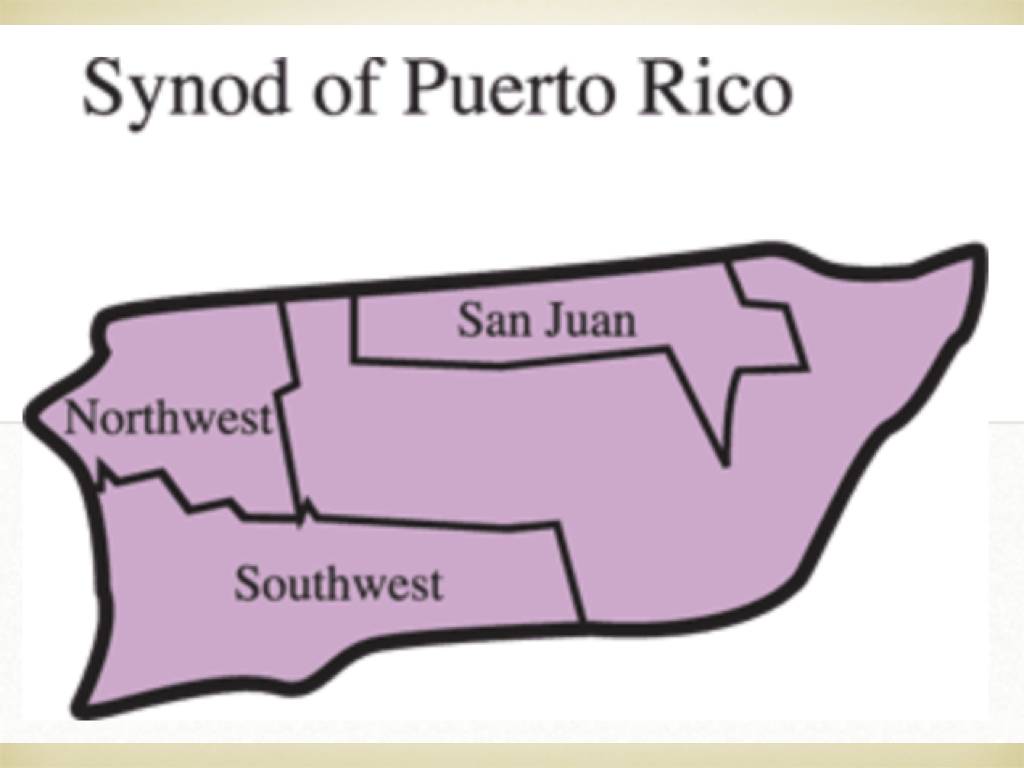 An map of the current day presbyteries in Puerto Rico.