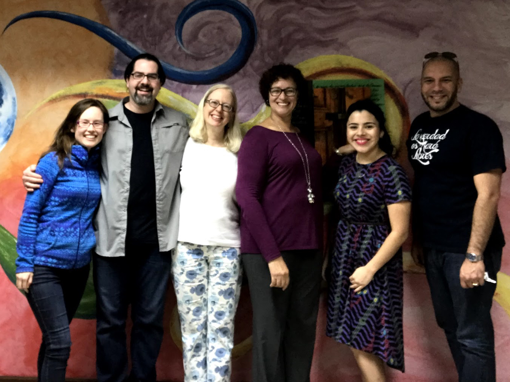 The members of the PRPT with Rev. Dr. Doris García Rivera, the president of the seminary.   Pictured left to right: Margaret Mitsuyasu, Stephen Fearing, Leslie Latham, Rev. Dr. Doris García Rivera, Crystal Garcia, Amaury Tañón-Santos