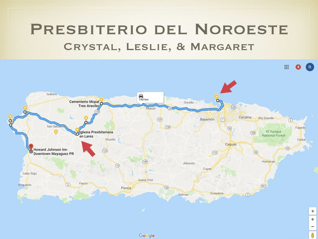 Back on the road, the female portion of the team headed west from San Juan to visit the Presbiterio del Noroeste (North West Presbytery).  They met up with their host and guide, Dagmary Fornes Arcelay, who is the current presbytery moderator.  After meeting up near the Arecibo on the coast, the team followed Dagmary up into the west-central mountains toward the heart of the presbytery.