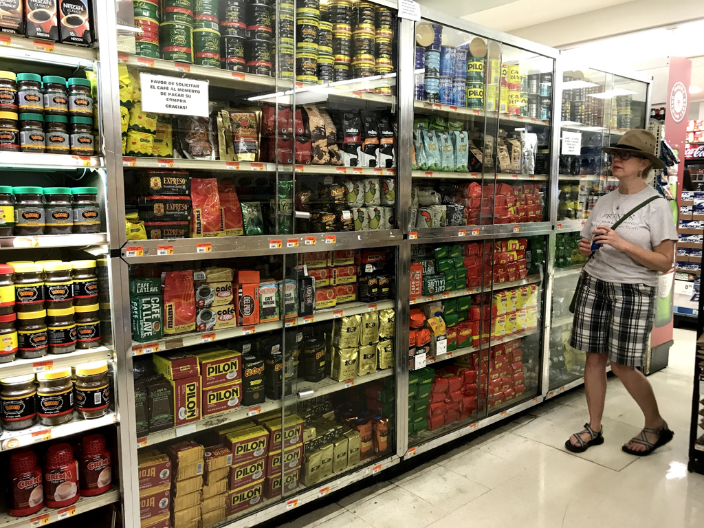 Coffee is one of the major industries in the Lares region.  Yes, this is an entire wall of coffee in the grocery store, and yes, it is kept in locked cabinets! Puerto Ricans take their coffee seriously!