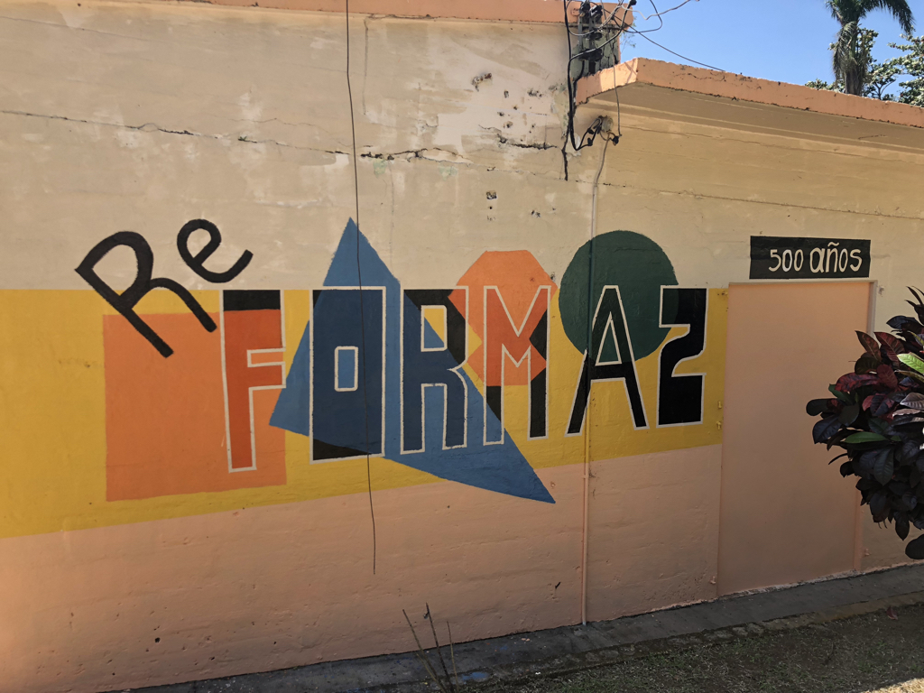 A mural at El Guacio commemorating an enthusiastic celebration of the 500th anniversary of the Protestant Reformation in 2017.