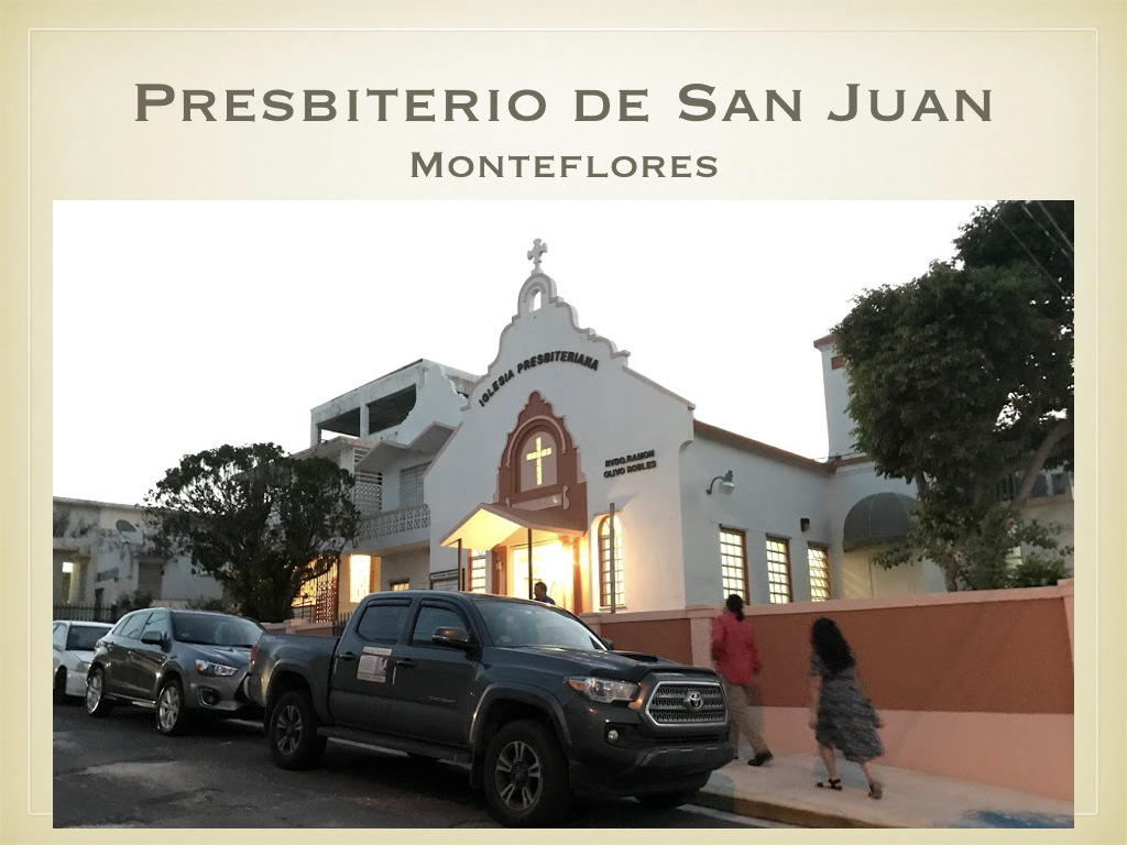 Wednesday evening, with the whole team reunited in San Juan, the PRPT visited the presbyterian church in Monteflores to meet with representatives and leaders from the Presbiterio de San Juan.