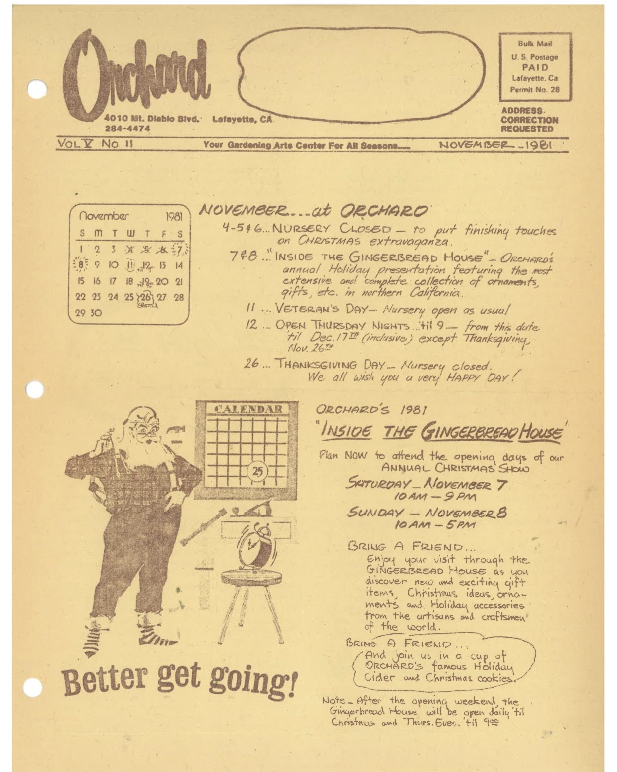 Our November 1981 newsletter. In those days Tom Giantvalley, the nursery's manager in the fifties and sixties, hand wrote our newsletters from his office on the second story of the Lazy K House.