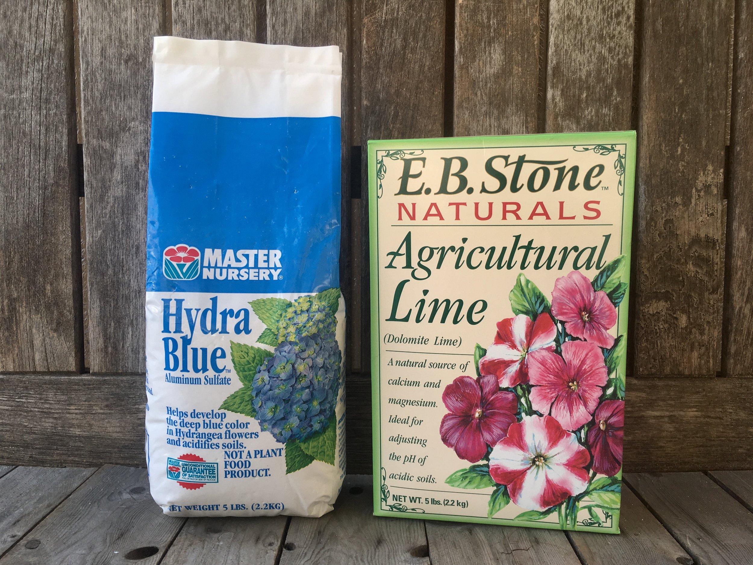 For blue hydrangeas add Hydra Blue, for pink add Dolomite Lime.