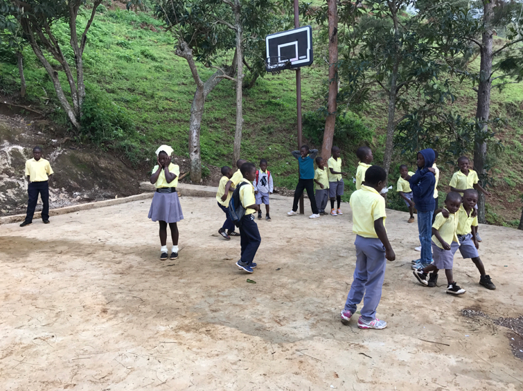 Youth playing on the new playground area