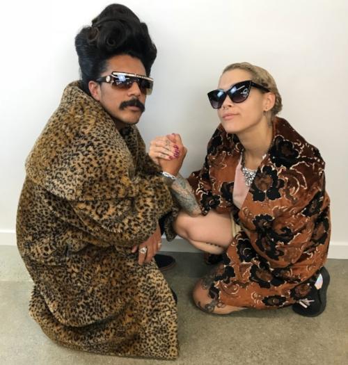 Madison Jane and epic Updude hair model Luis at Radar Salon