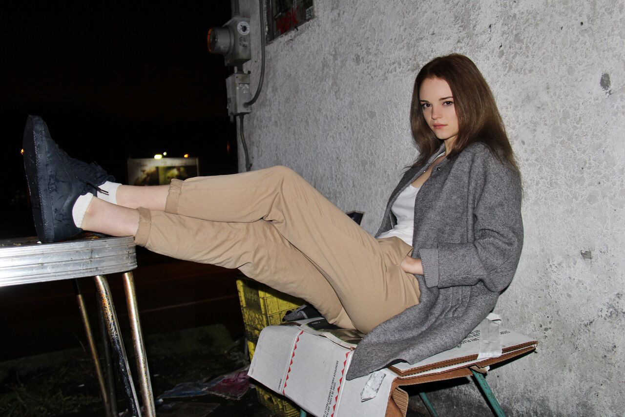 Colette Mcisaac models her babaton trousers for Zeitgeist.