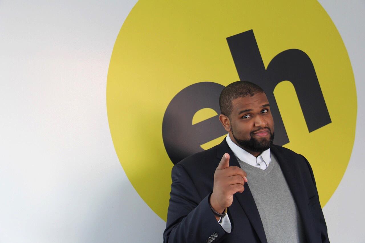 Elamin Abdelmahmoud, the social media editor for BuzzFeed Canada, at the BuzzFeed Canada office in Toronto, Ontario on Feb. 1, 2017.