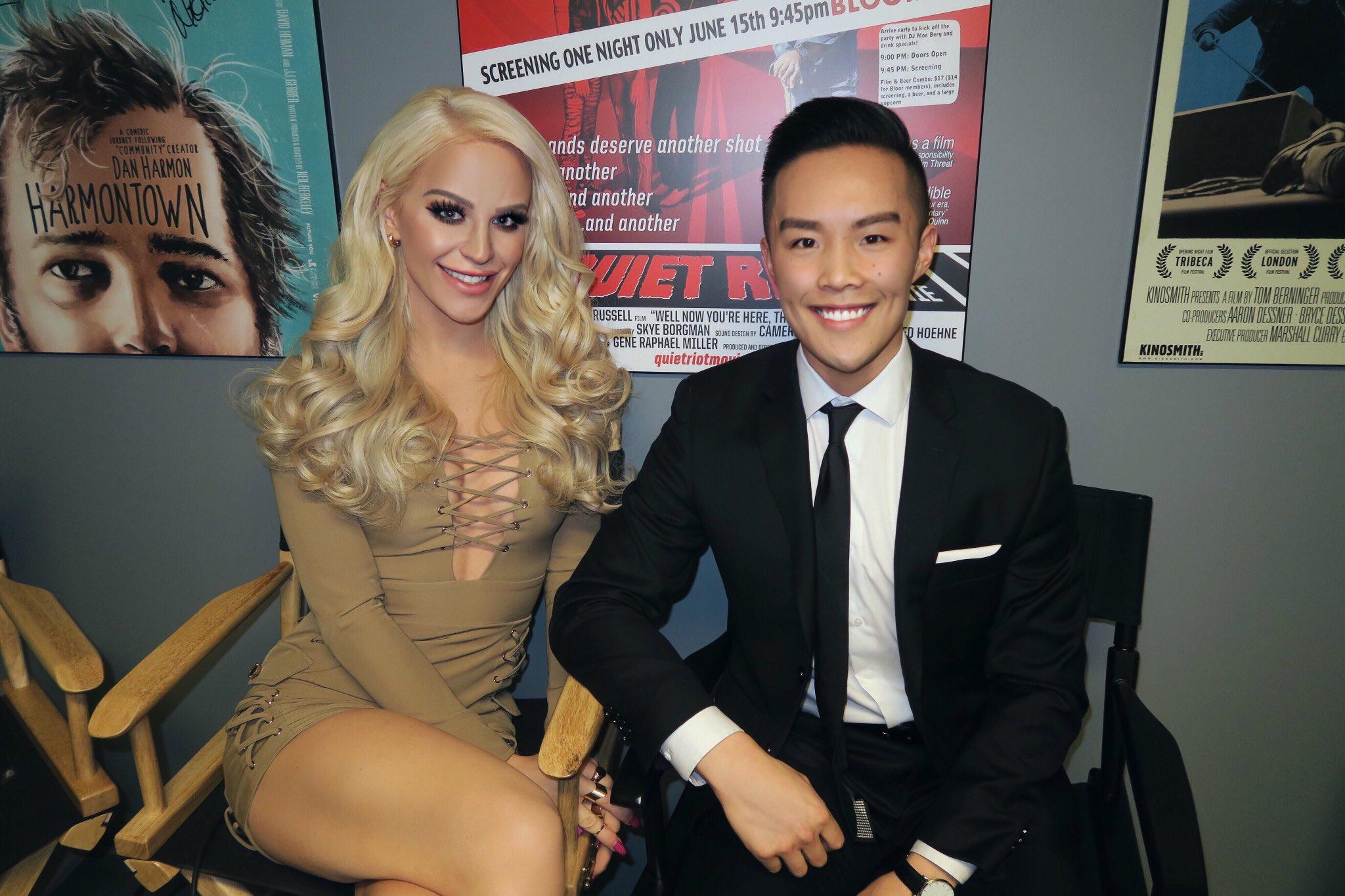 Nathan Sing interviewing Gigi Gorgeous at Hot Docs Toronto