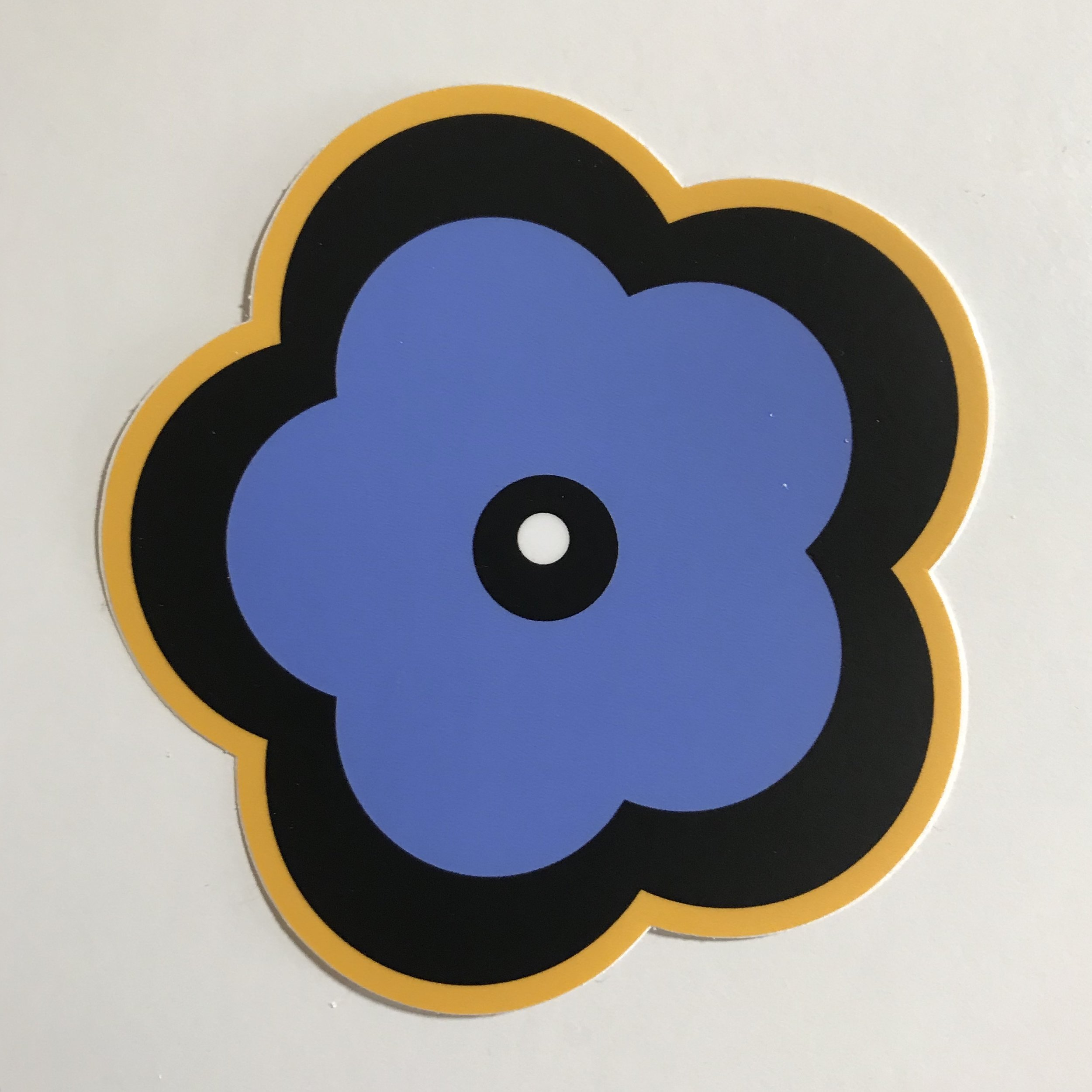 "Classic Flower Sticker - Purple/Yellow - $4.00 - 4"" X 4"""