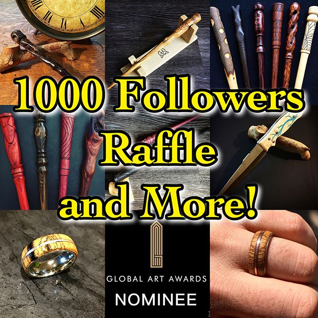 1000 followers!! This is an awesome milestone and I couldn't be more thankful, humbled, and stoked by your support! It's been an amazing journey and I've met/worked with some incredible people in this nerdy hobby-turned dream job! So what better way to celebrate than with a raffle/giveaway!  Just like this post, follow me @centralcurios, and tag two people on this post to win a custom wand, ring, or knife worth up to $100!! Plus, if you're interested in getting your own custom order, enjoy a 15% discount from now through the end of June! *** #centralcurios #1000followers #wand #wands #wandmaking #wandmaker #wood #woodworking #woodworker #woodcarving #carving #exoticwood #harrypotter #handmade