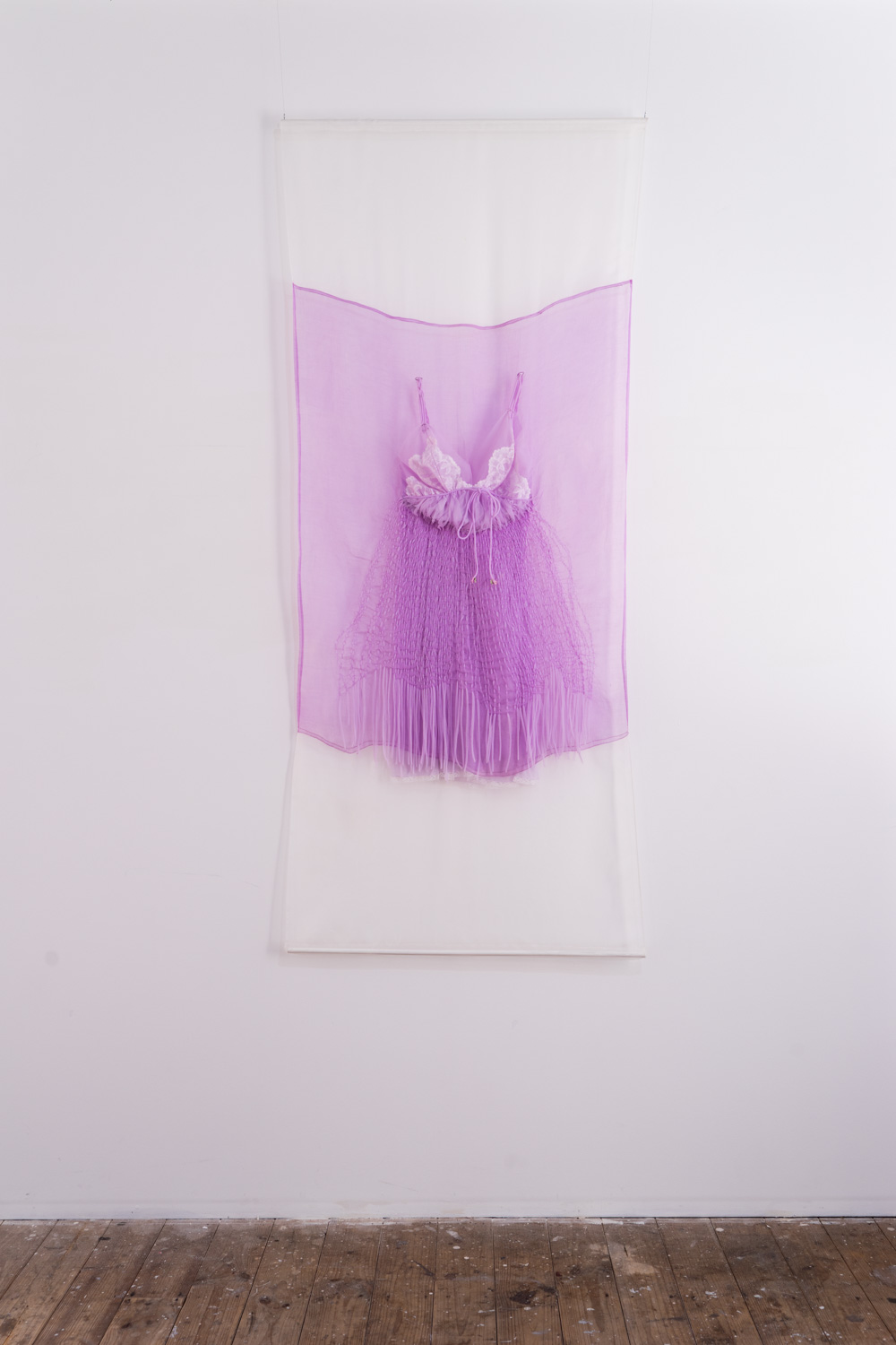 Dissolved nightie in lilac , 2018, silk fabric, gifted nightie (from Louise), thread, 66 x 220 x 6cm