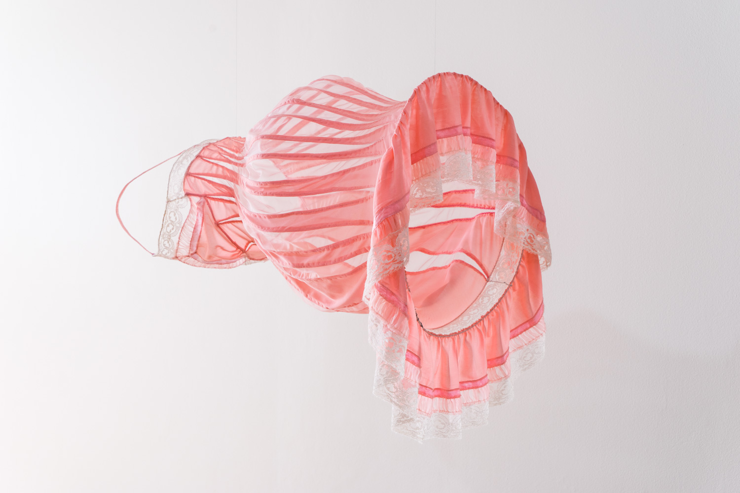Distended nightie in pink , 2018, found nightie and synthetic fabric, milliner's wire, thread. 69 x 44 x 53cm