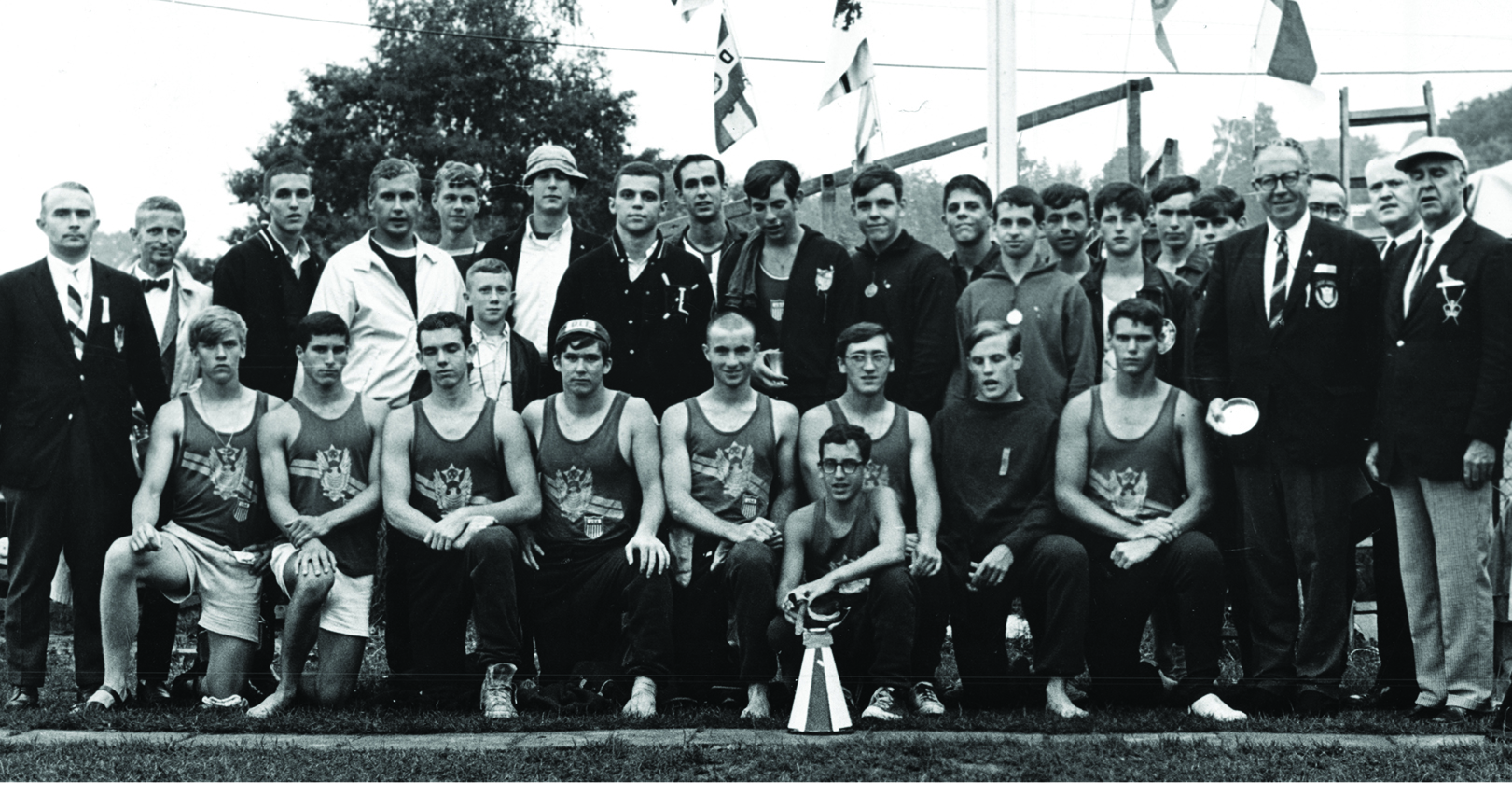 Mike Cipollone and the 1967 US Junior Men's team (Mike is with the bullhorn)