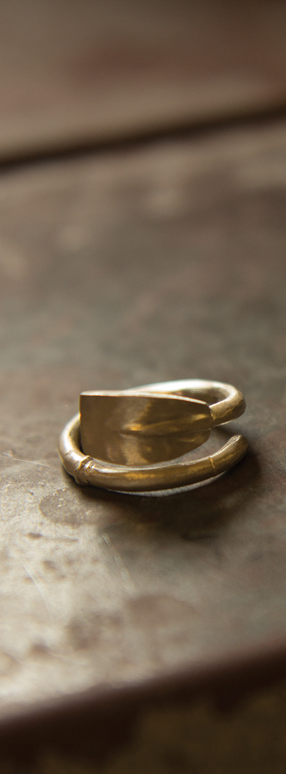 A ring awaits buffing, cleaning and polishing