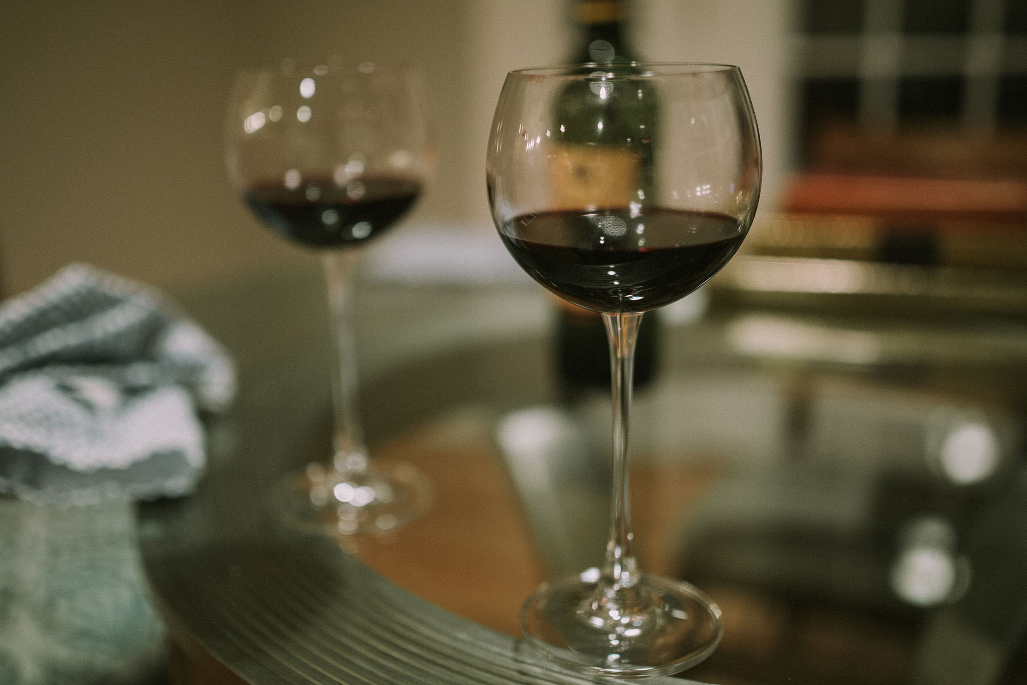 January 10: Debriefing with friends over a glass of red.