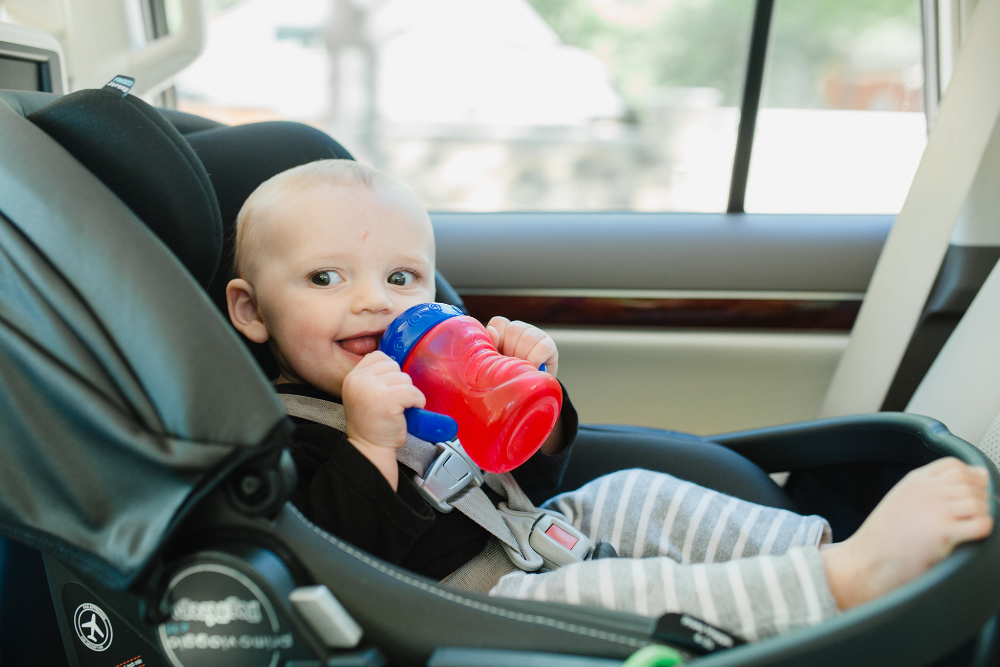 April 6: On the way to the airport with this little buddy. I love how babies live in the very presentest tense. He didn't know we were about to say goodbye; he only knew that he was happy to be in the backseat with his auntie.
