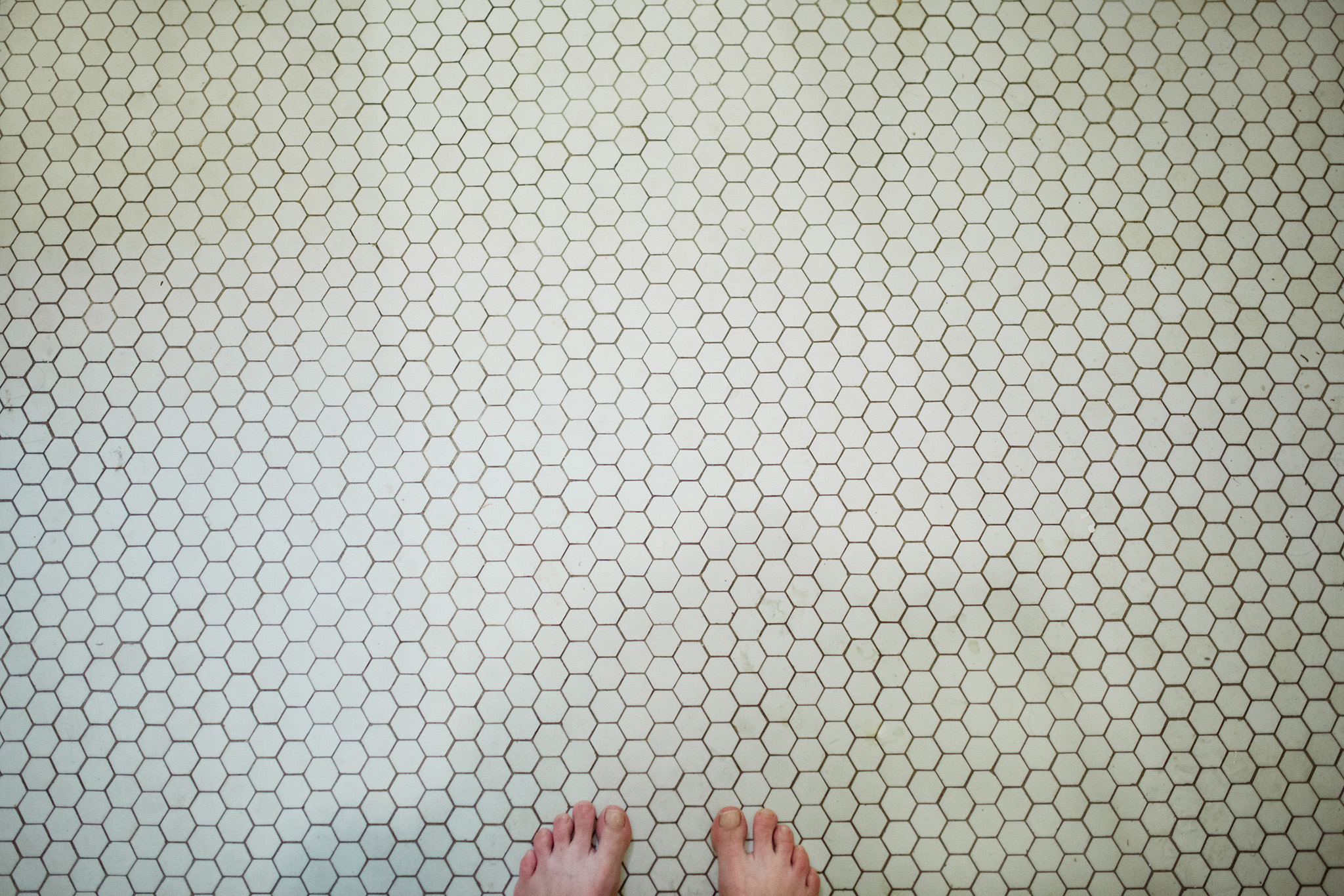 April 15: Honeycomb tiles in the upstairs bathroom.