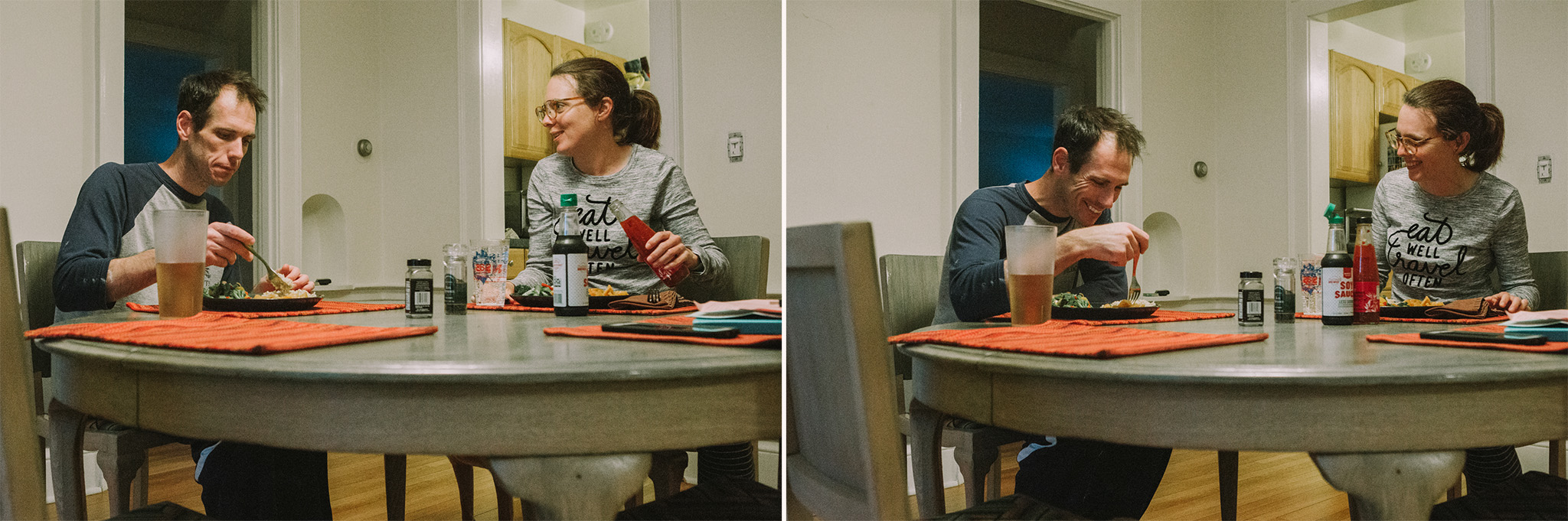 May 8: This is also us on any given weeknight. I was into selfies with the camera timer in May. Apparently.