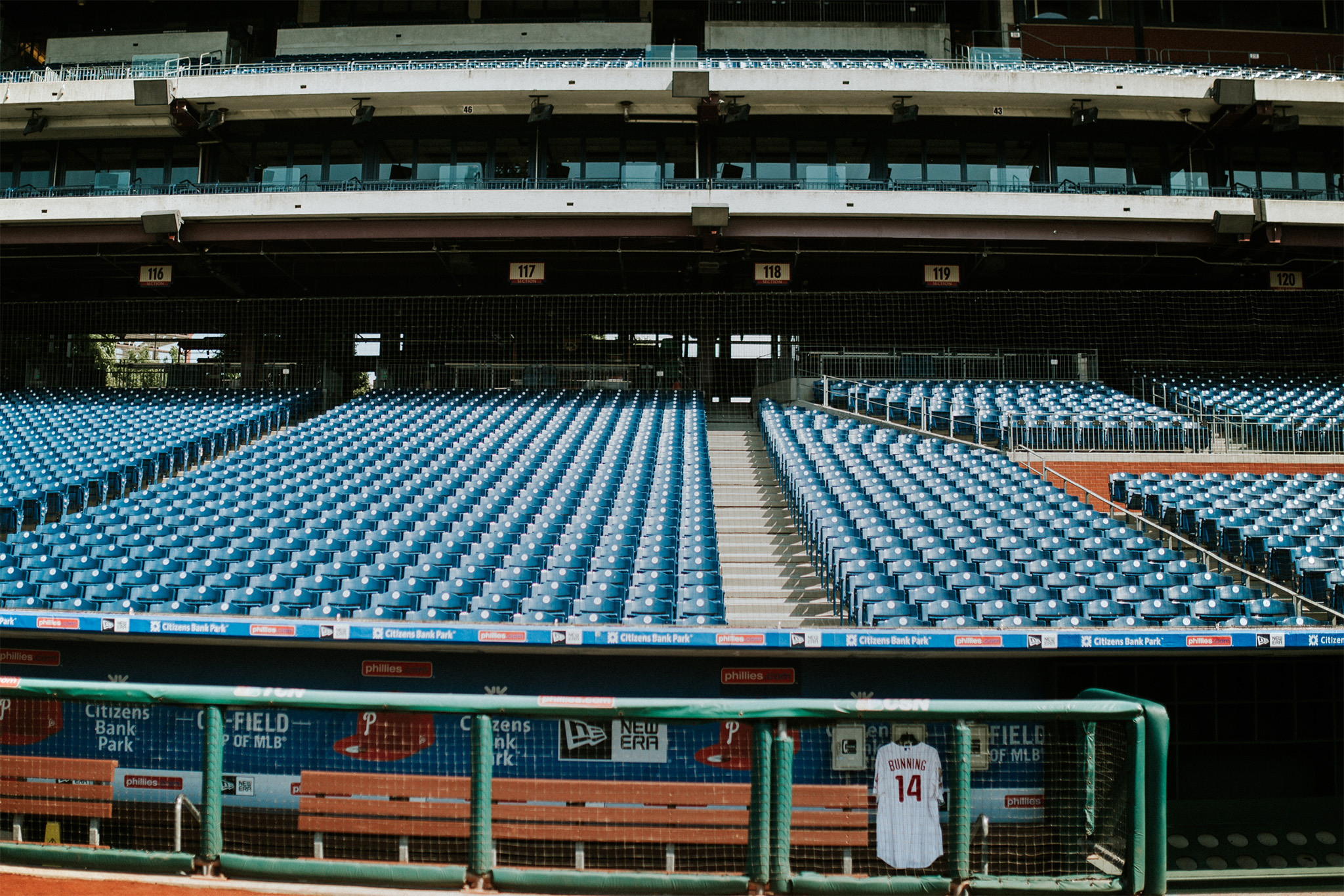May 31: On May 26, my grandpa, Jim Bunning, passed away. He was a Hall of Fame pitcher, and on my way to pay respects, I was able to go to the Philadelphia Phillies' stadium to pay respects. During a game the weekend after his death, they hung his jersey in the dugout, and the team graciously allowed me to hang his jersey again to take some photos for myself and my grandma. It felt like a fitting way to honor my grandpa. He loved the game.