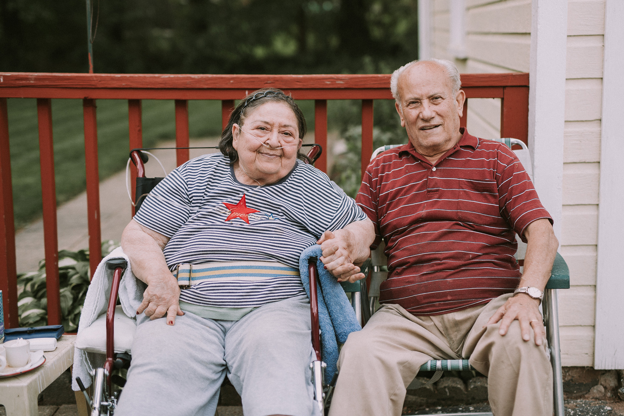 June 10: Maria and Joe bought the house next door to us 40+ years ago. They ran a shoe store in town for the whole of their career. They're a good conversation, full of stories and life. On nice days you'll find them sitting at the end of their driveway, just like this.