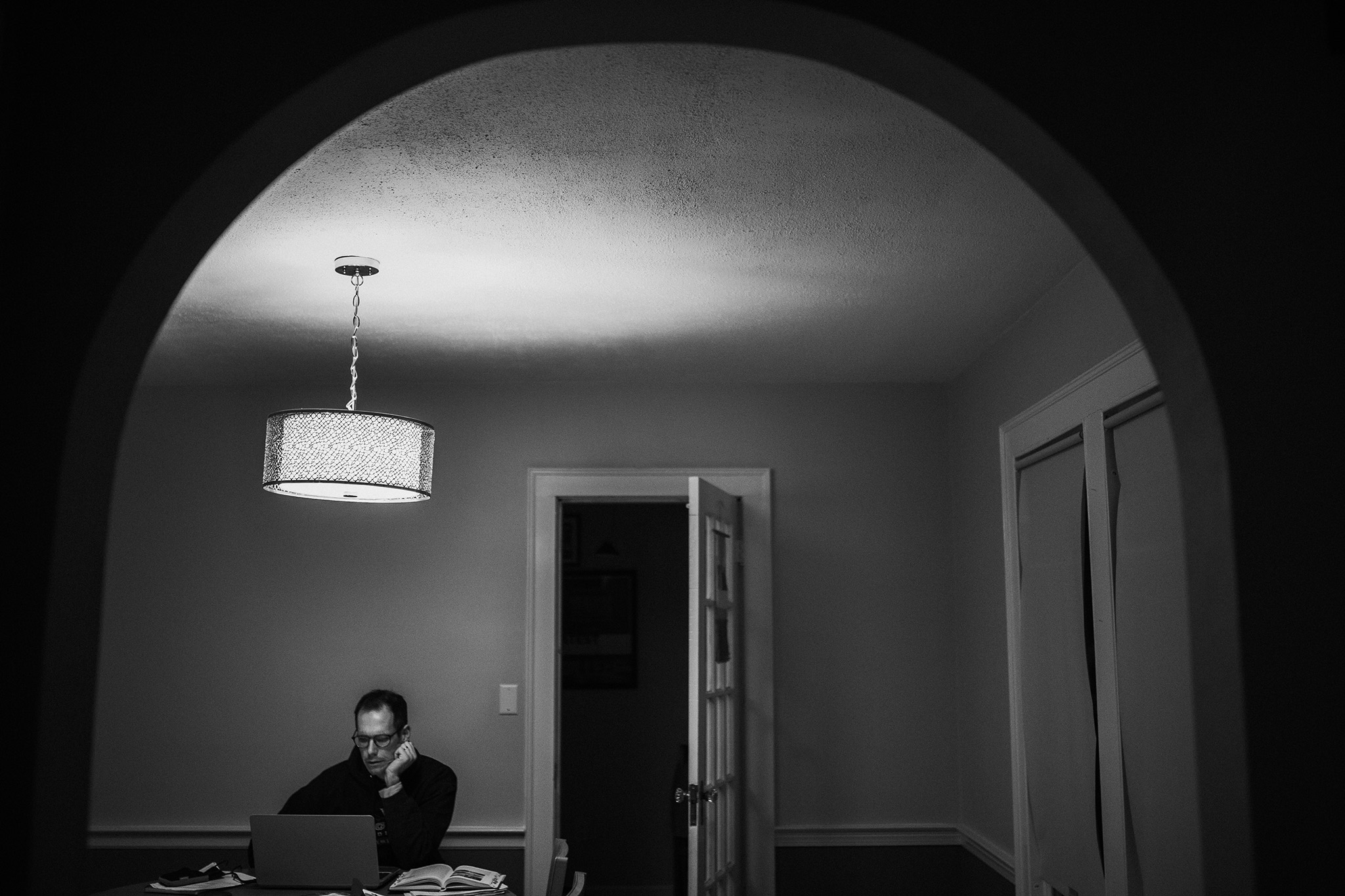 January 3: Dissertation writing, with the end in sight. He's a worker bee, my husband.
