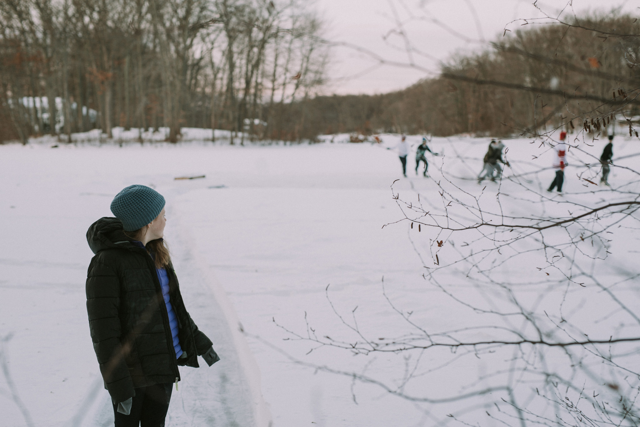 January 7: Cassidy and I took a drive to see if the lake that I often run by was frozen, and we found neighborhood kids playing hockey on it. It was perhaps the most New England moment of my life here to date. I loved it.