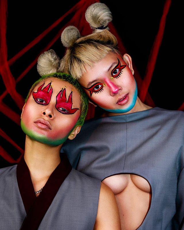 #models @mariasirenss & @kitsuneghost wearing #designer @ah.yah.2.0 ✨ #makeup by @mariasirenss & me 🧚🏼♂️✨