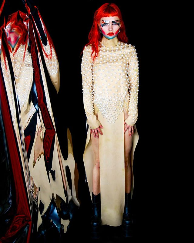 #model @aatypi wearing @alabamablonde ✨ #makeup by me & @mariasirenss 🧚🏼♂️