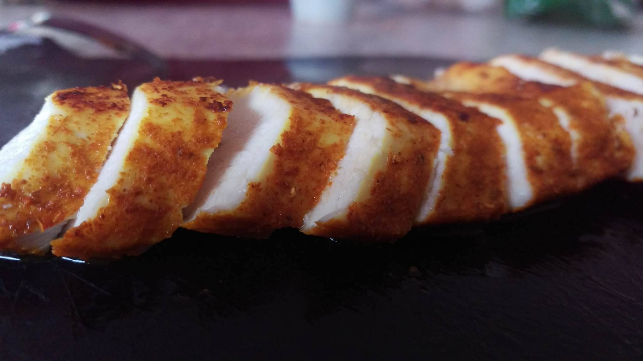 Thinly slice the chicken once cooked