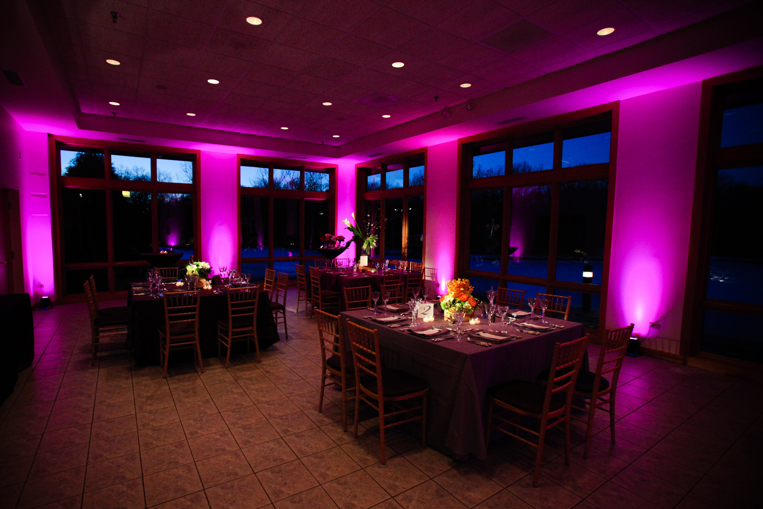 Up Lighting - Up Lighting is a perfect way to change the ambiance of a room. You can fill the room with color or just add accents to certain areas. Let us help you choose the right ammount of lighting for your event.