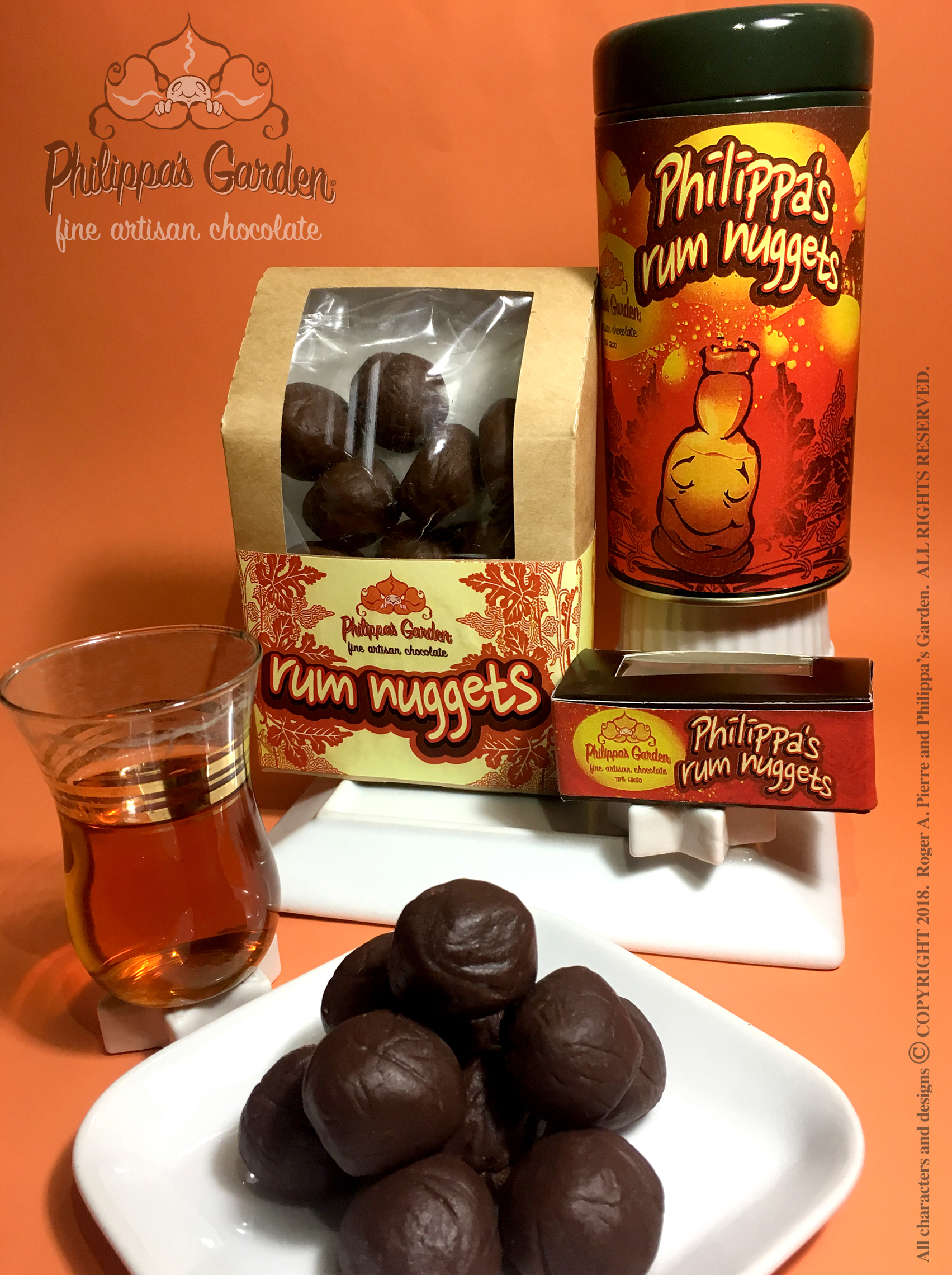 PHILIPPA'S RUM NUGGETS   Dark chocolate spiked with a dash of Trinidad Rum and coated in toppings like nuts, seeds or sprinkles. (Other alcohol options include vodka, rum or liqueurs)  Available in 2-piece boxes, 8-piece boxes or 10 piece tins