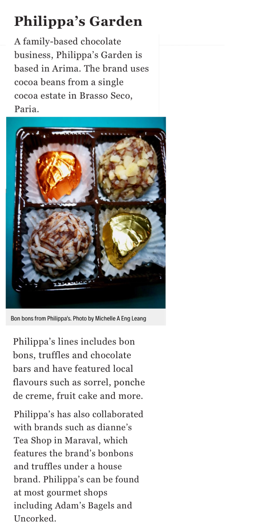 Raising the bar Local chocolatiers on the rise - Check out the full (June 26th 2019) Newsday Newspaper article by Michelle A. Eng Leang here.