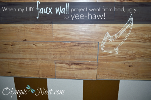 DIY faux plank wall with Allure flooring
