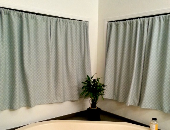 Make your own master bath curtains.