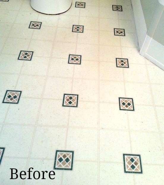 Master bath make over includes adding Allure flooring over linoleum.