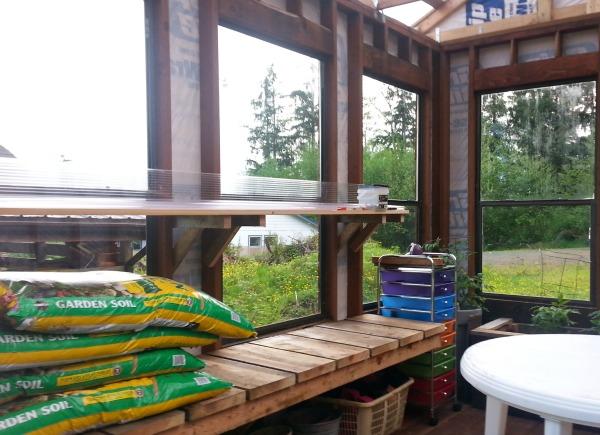 DIY greenhouse shelves