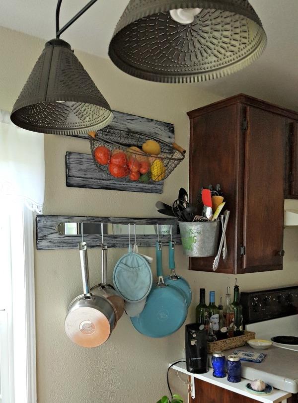 rustic diy vertical kitchen storage