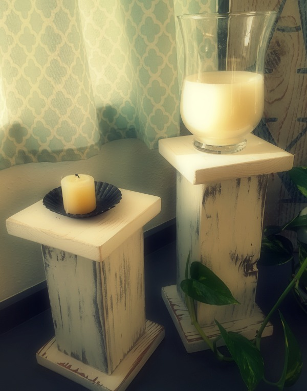 DIY wooden pillar candle holders