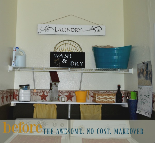small laundry room gets a rustic makeover