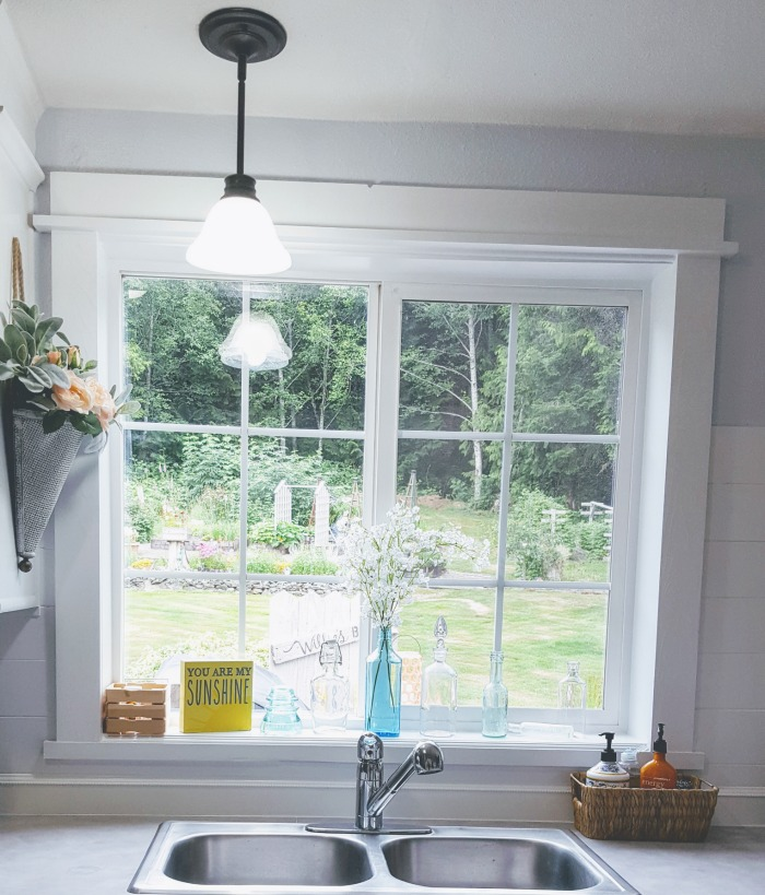 before and after manufactured home kitchen window diy frame.jpg