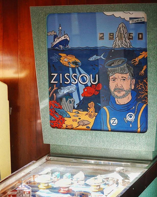 Steve Zissou pinball at the @fondazioneprada and it's Wes Anderson bar #milano #italytravel