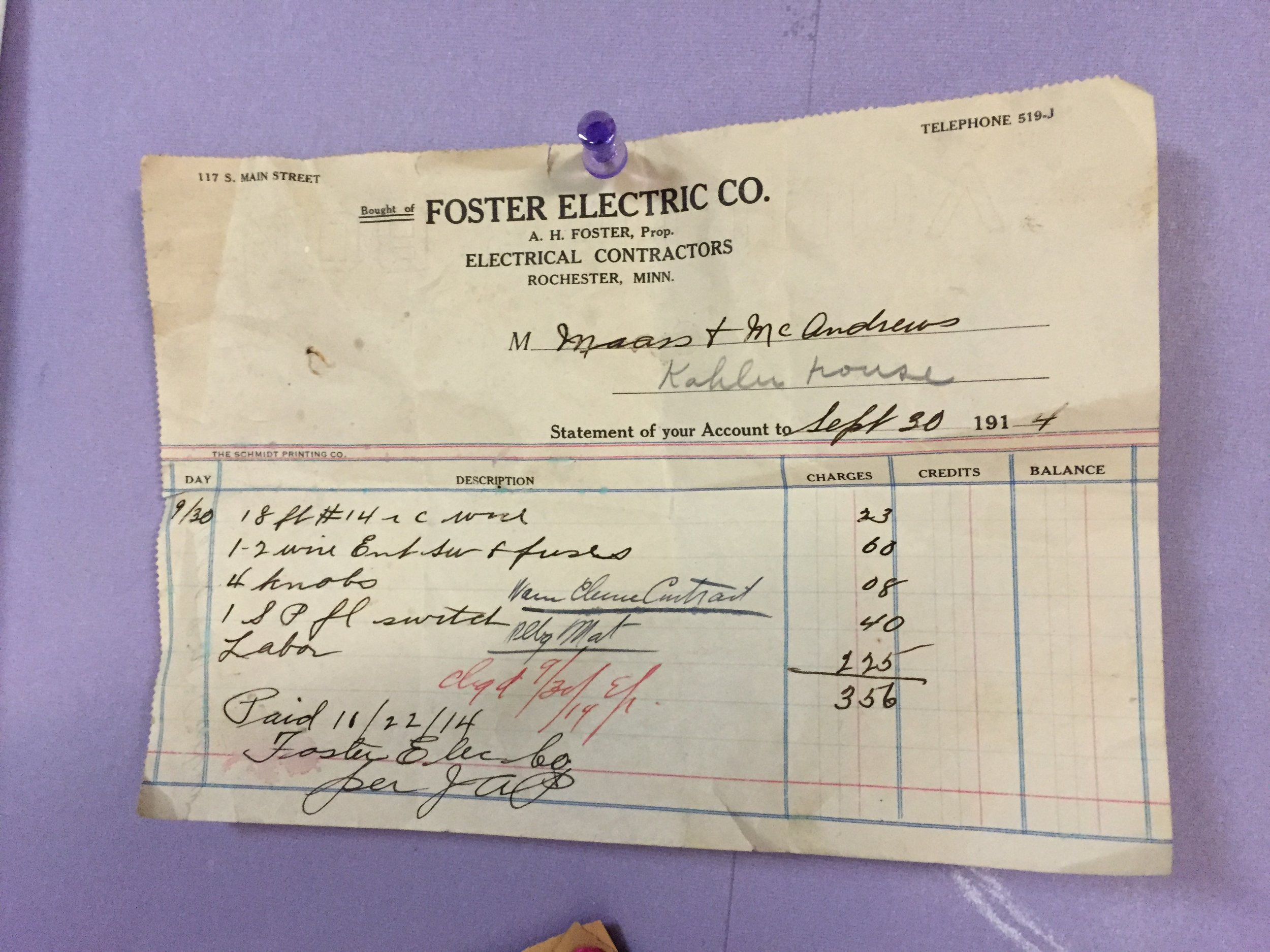 An original electrical bill from Sept. 30th, 14. That's 1914.