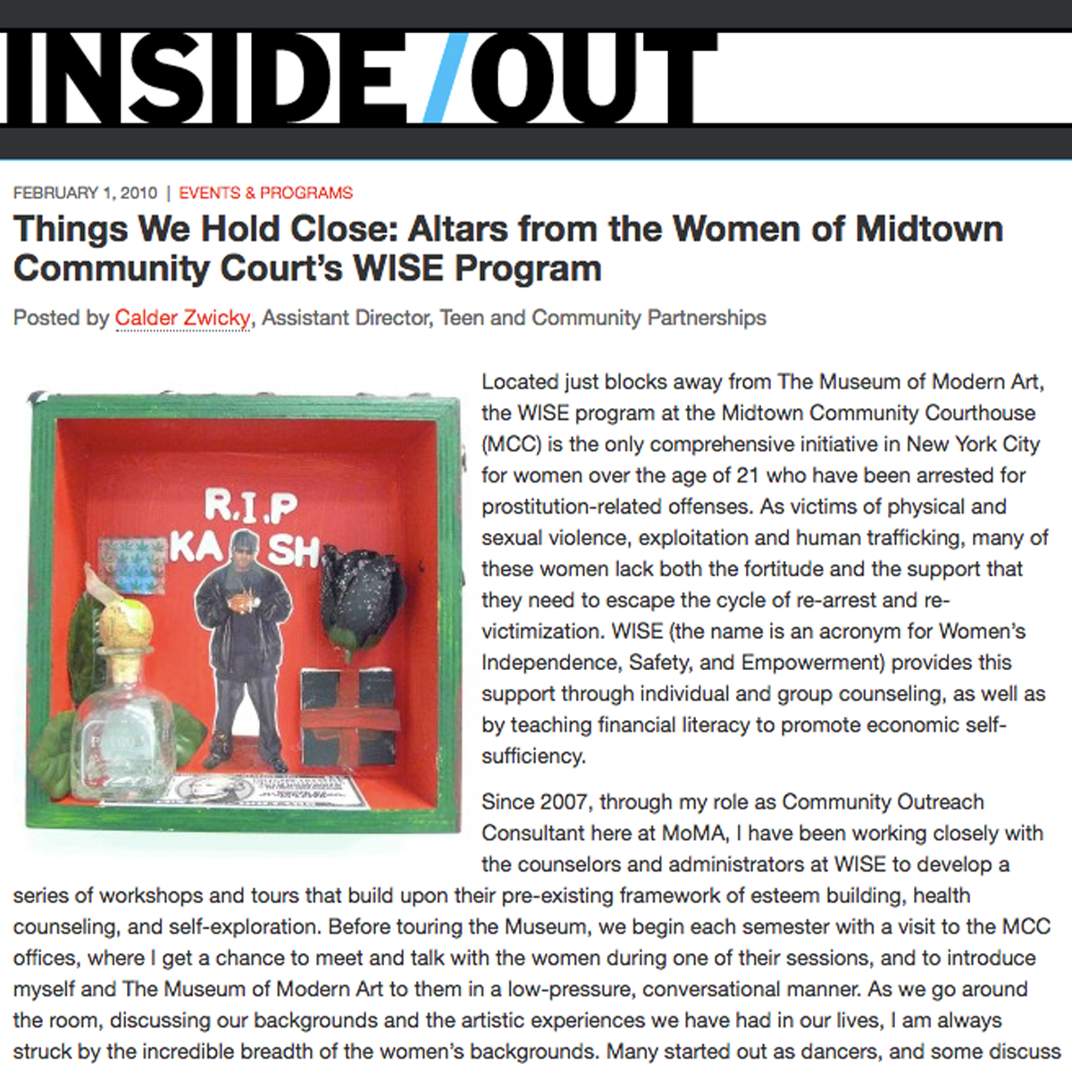 Things We Hold Close: Altars from the Women of Midtown Community Courts WISE Program